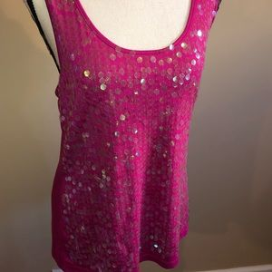 Fun,dressy, racer back tank adorned with sparkles!